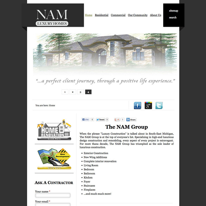 NAM Construction Company Website