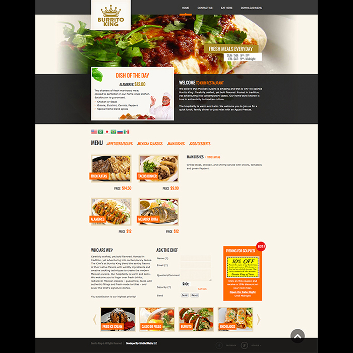 Burrito King Restaurant Website