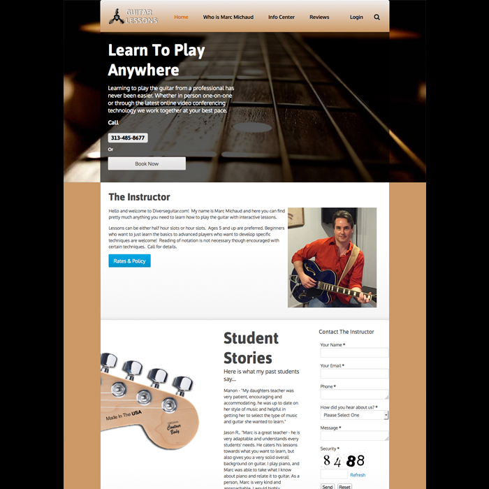 Guitar Lessons Website