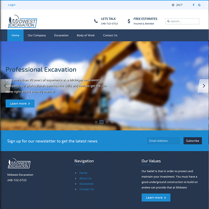 Midwest Excavasion Company Website